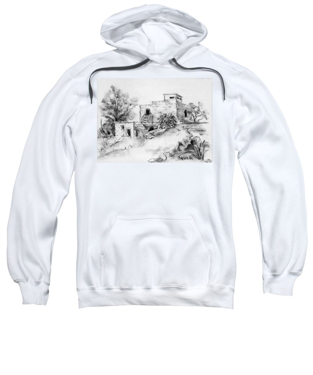 Hirbe Sweatshirt featuring the painting Hirbe Landscape In Afek Black And White Old Building Ruins Trees Bricks And Stairs by Rachel Hershkovitz