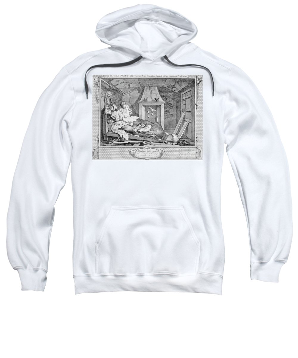 1747 Sweatshirt featuring the photograph Hogarth: Idle Prentice by Granger