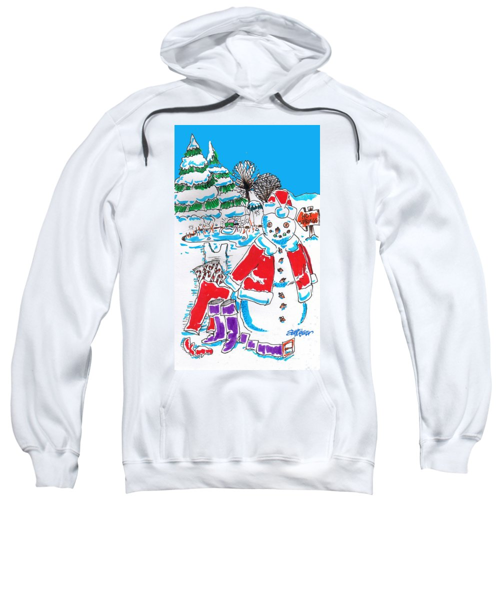 Holiday Dip! Sweatshirt featuring the drawing Holiday Dip by Seth Weaver