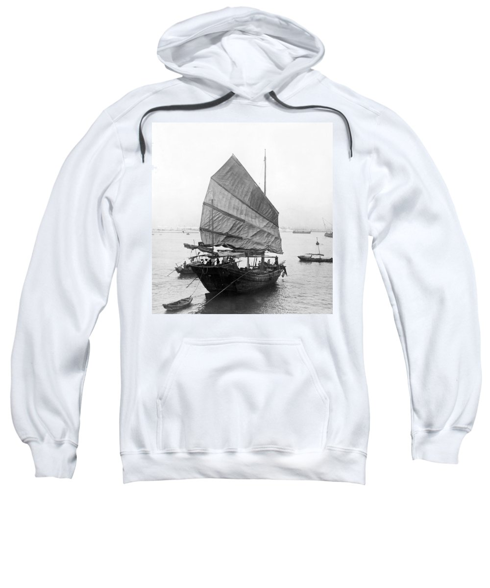 Junk Sweatshirt featuring the photograph Hong Kong Harbor - Chinese Junk Boat - C 1907 by International Images
