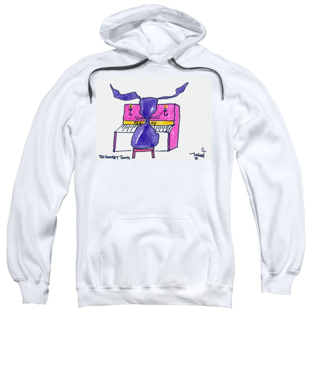 Honkey Sweatshirt featuring the painting Honkey Tonk Piano by Tis Art