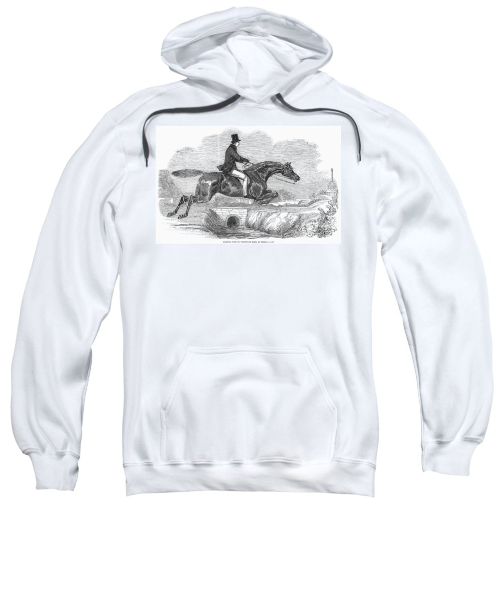 1852 Sweatshirt featuring the photograph Horse-jumping, 1852 by Granger