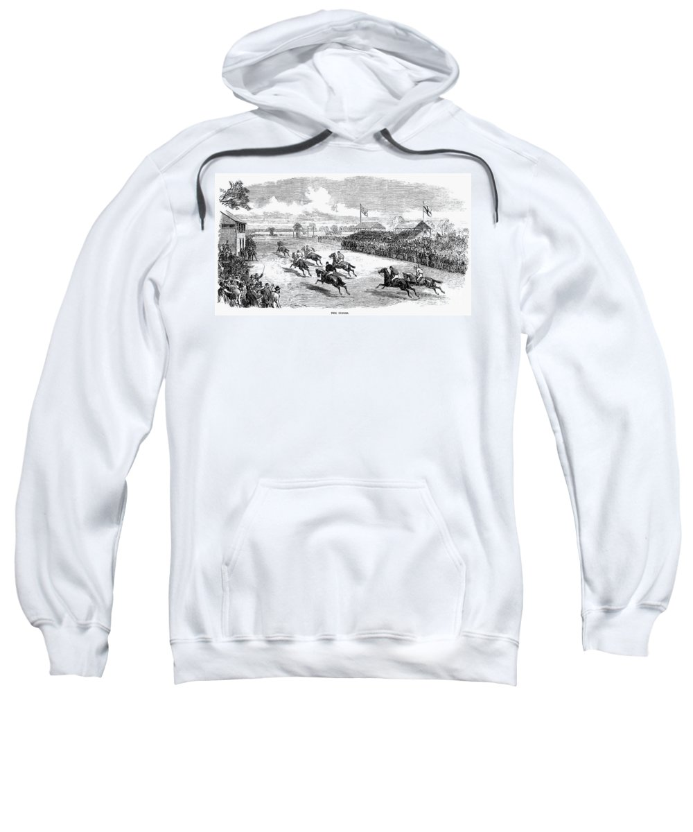1870 Sweatshirt featuring the photograph Horse Racing, 1870 by Granger