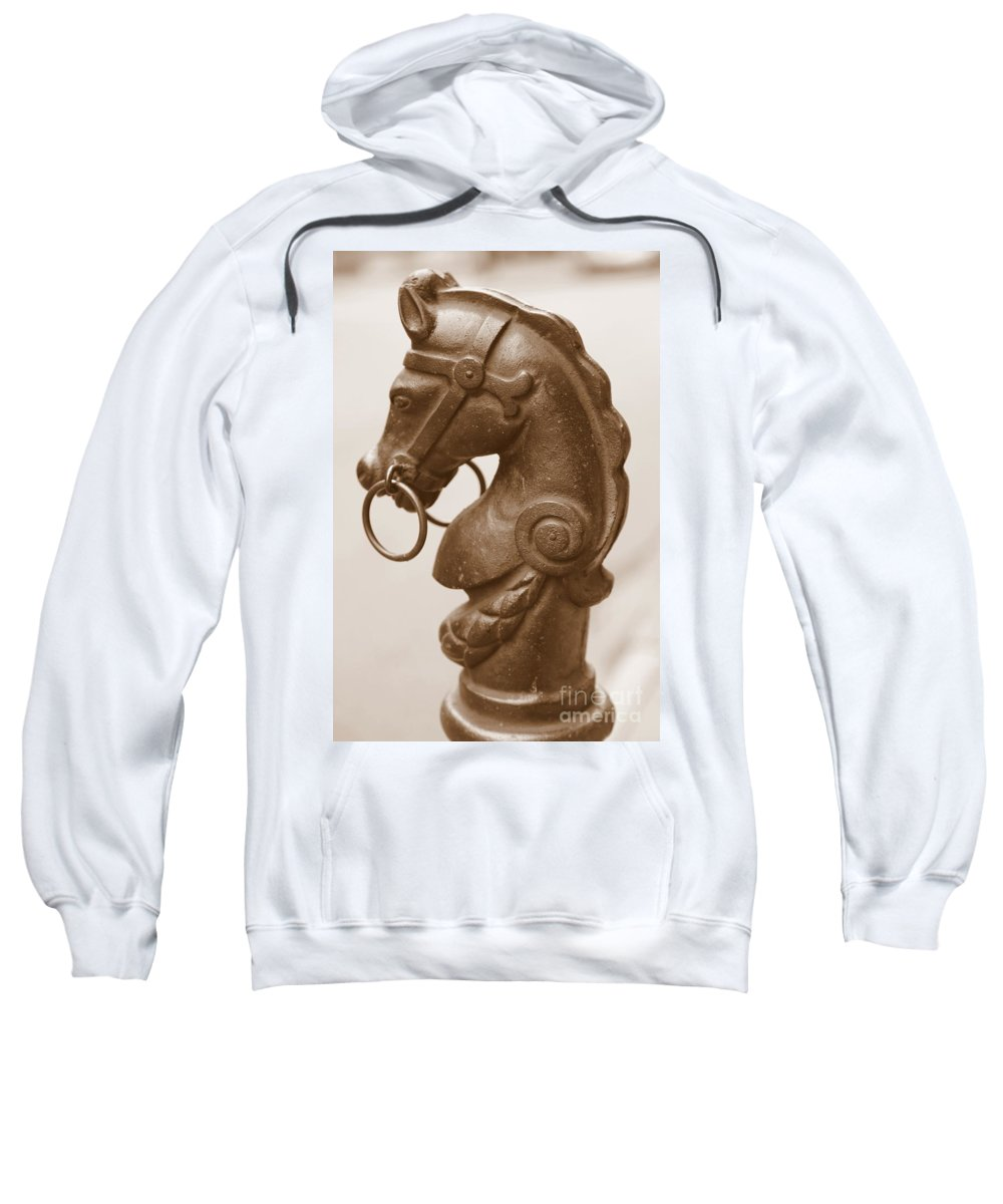 Horse Tether Sweatshirt featuring the photograph Horse Tether In New Orleans - Sepia by Carol Groenen