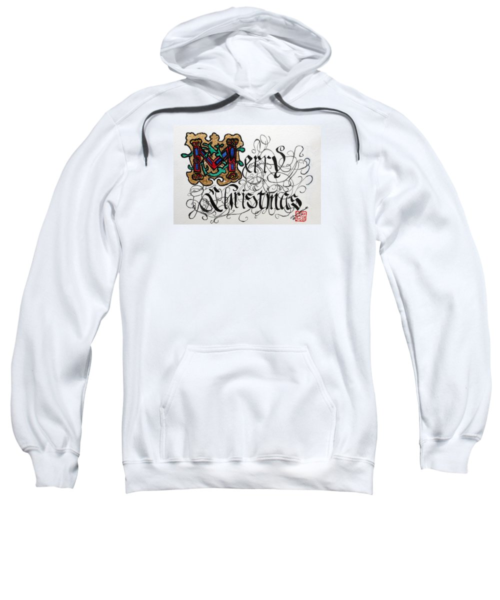 Merry Christmas Sweatshirt featuring the painting Illuminated Letter M by Arlene Wright-Correll