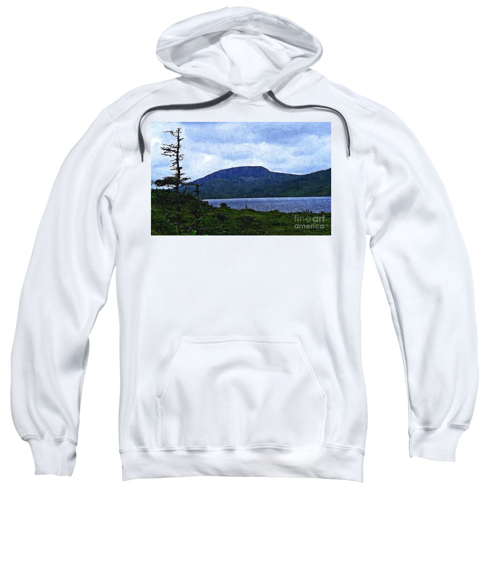 In The Shelter Of The Blue Cliff Sweatshirt featuring the digital art In The Shelter Of The Blue Cliff 2 by Barbara Griffin
