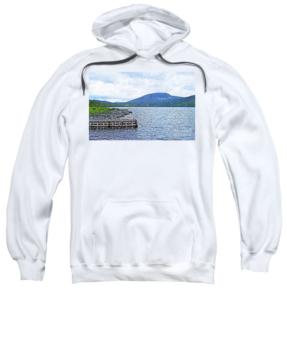 In The Shelter Of The Blue Cliff Sweatshirt featuring the digital art In The Shelter Of The Blue Cliff by Barbara Griffin