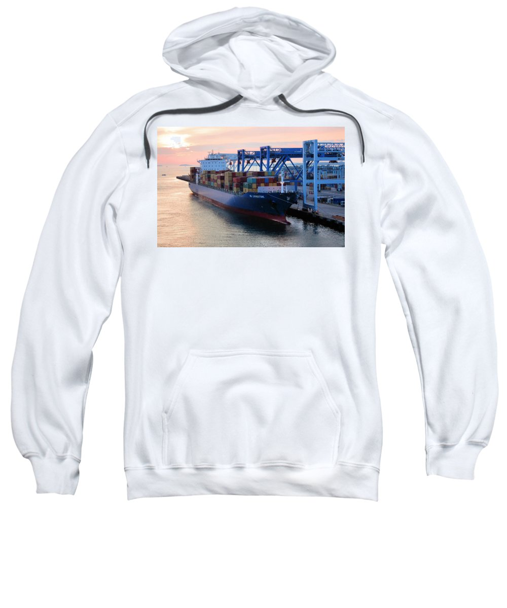 Boston Sweatshirt featuring the photograph Industrial Boston by Kristin Elmquist
