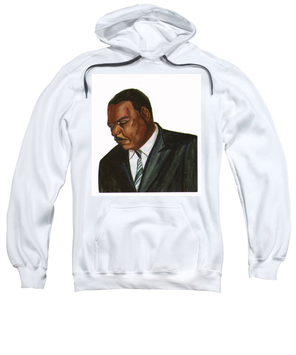 Portraits Sweatshirt featuring the painting Issa Hayatou by Emmanuel Baliyanga