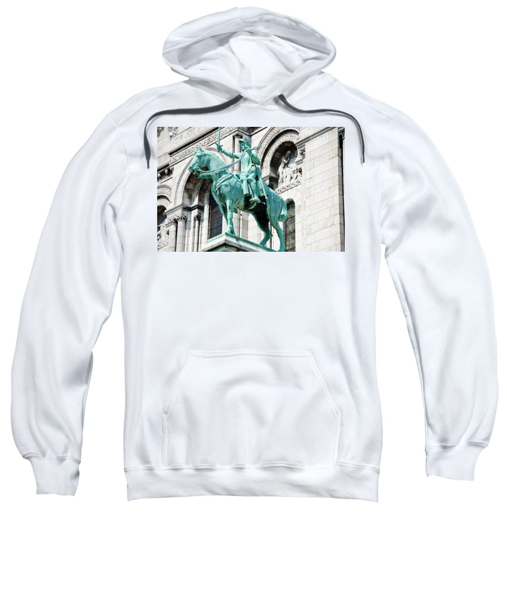 France Sweatshirt featuring the photograph Joan Of Arc At Sacre Coeur Basilica Paris France by Jon Berghoff