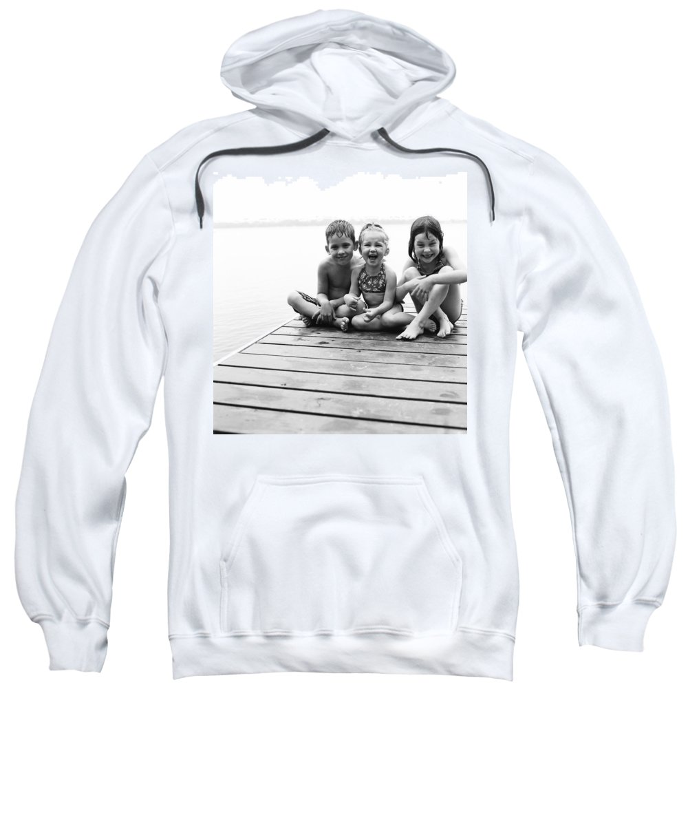 5 To 6 Sweatshirt featuring the photograph Kids Sitting On Dock by Michelle Quance