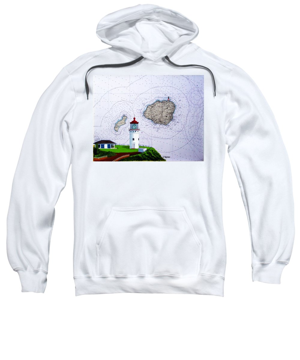 Kilauea Sweatshirt featuring the painting Kilauea Point Lighthouse On Noaa Chart by Mike Robles