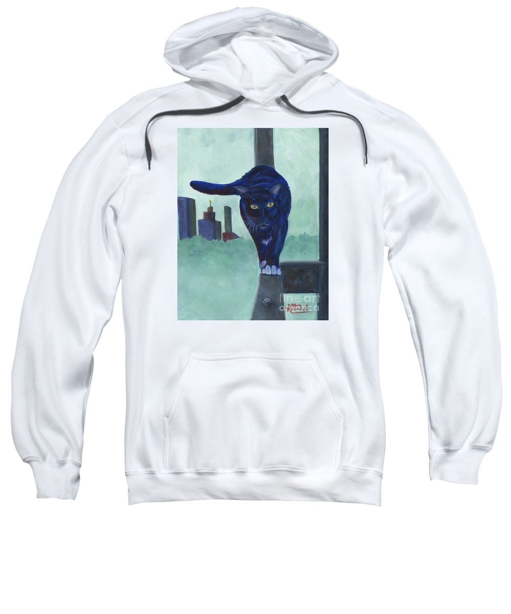 Cat Sweatshirt featuring the painting King Of The Urban Jungle by Ruth Ann Murdock