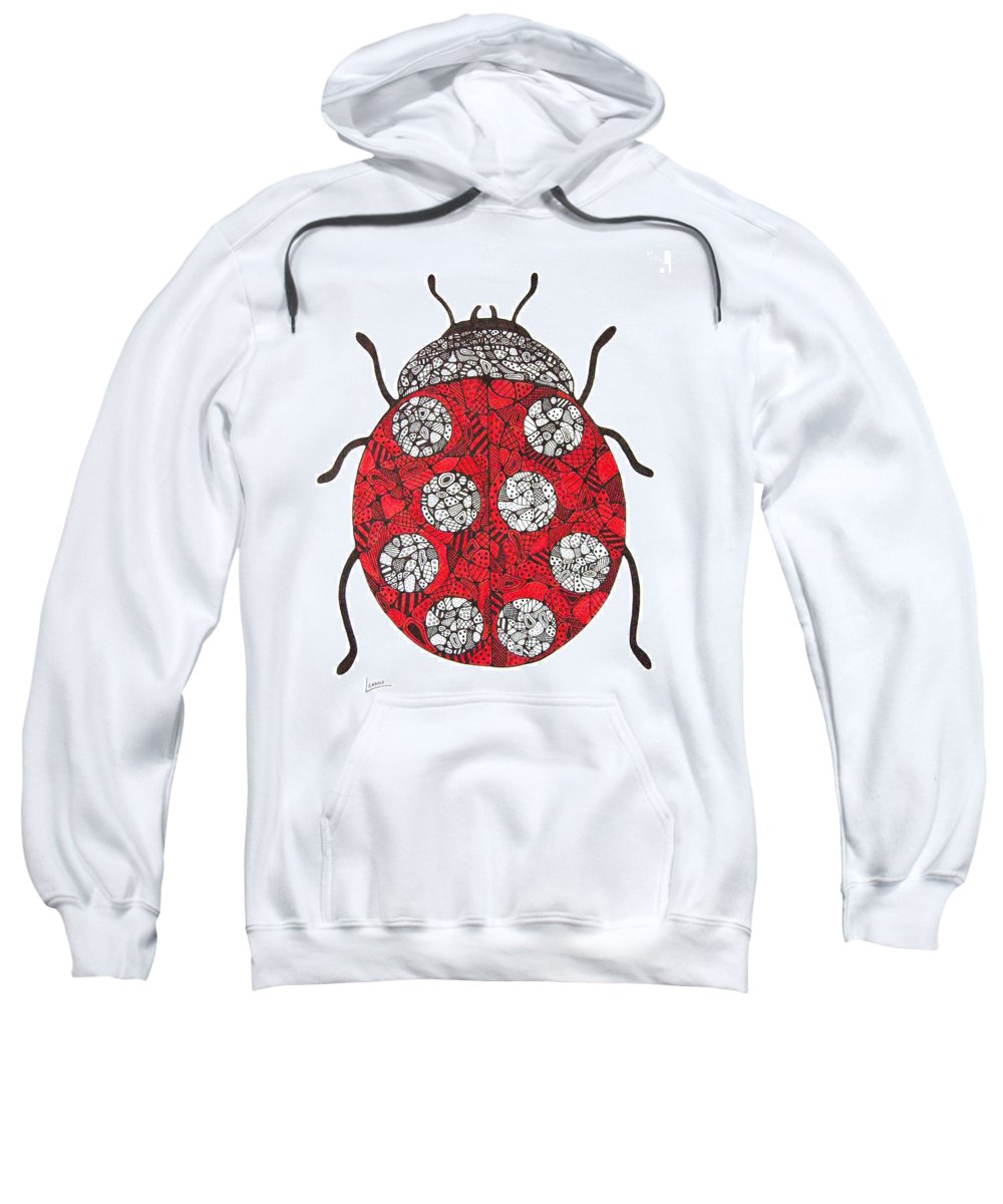 Ladybug Sweatshirt featuring the drawing Lady Bug by Leanne Karlstrom