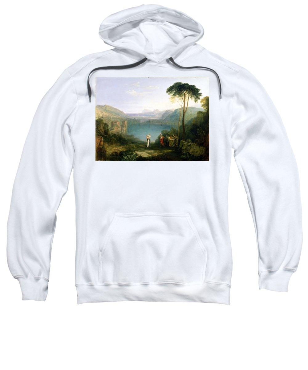 Xyc111959 Sweatshirt featuring the photograph Lake Avernus - Aeneas And The Cumaean Sibyl by Joseph Mallord William Turner