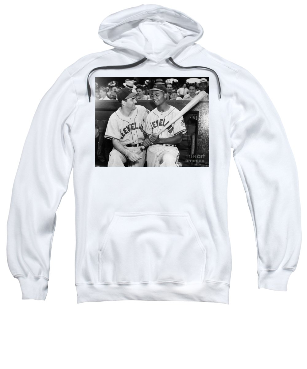 1947 Sweatshirt featuring the photograph Larry Doby (1923-2003) by Granger