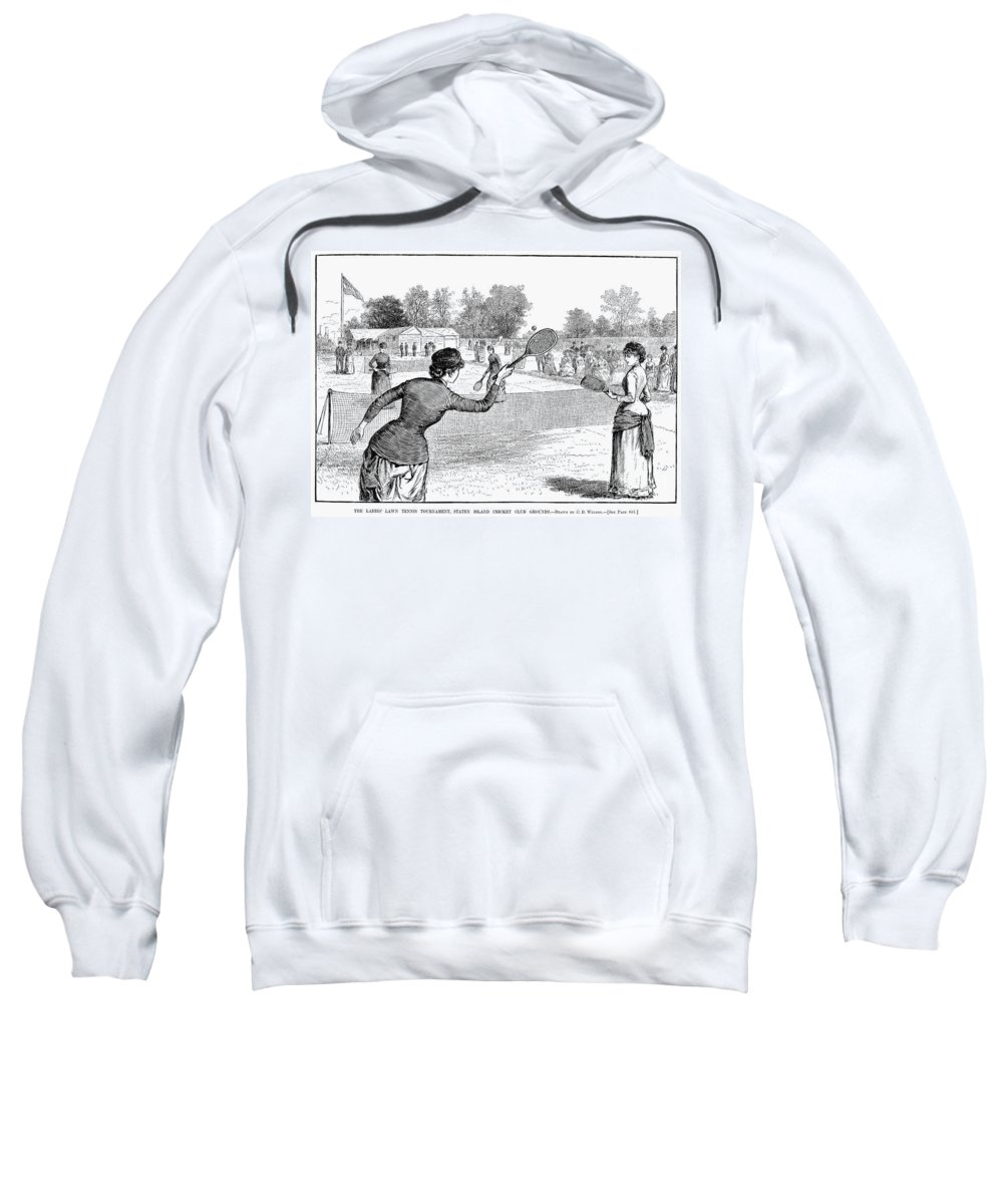 1883 Sweatshirt featuring the photograph Lawn Tennis, 1883 by Granger