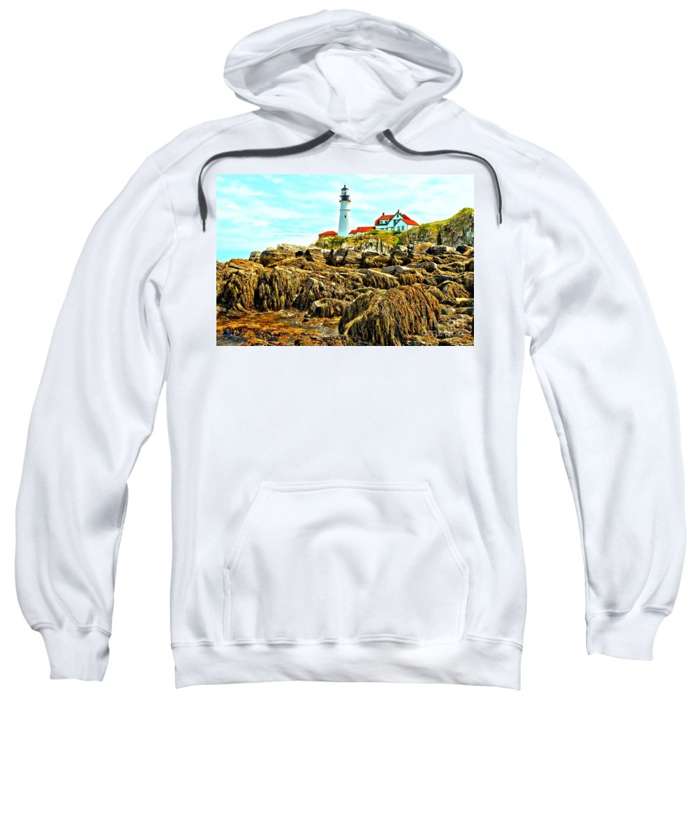 Portland Lighthouse Sweatshirt featuring the photograph Light Over The Rocks by Adam Jewell
