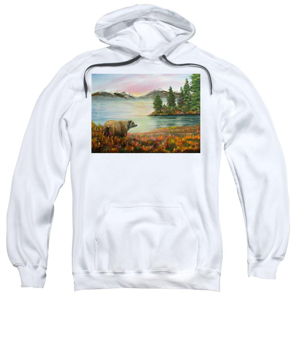Bear Sweatshirt featuring the painting Little Bear Big World by Dee Carpenter