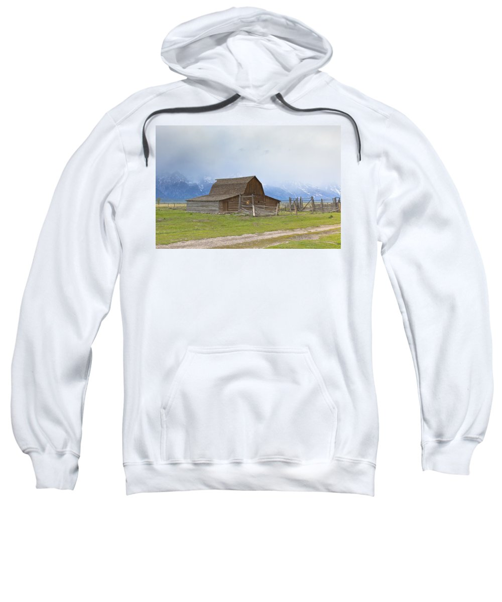 National Park Sweatshirt featuring the photograph Little Mountain Barn by Jack R Perry
