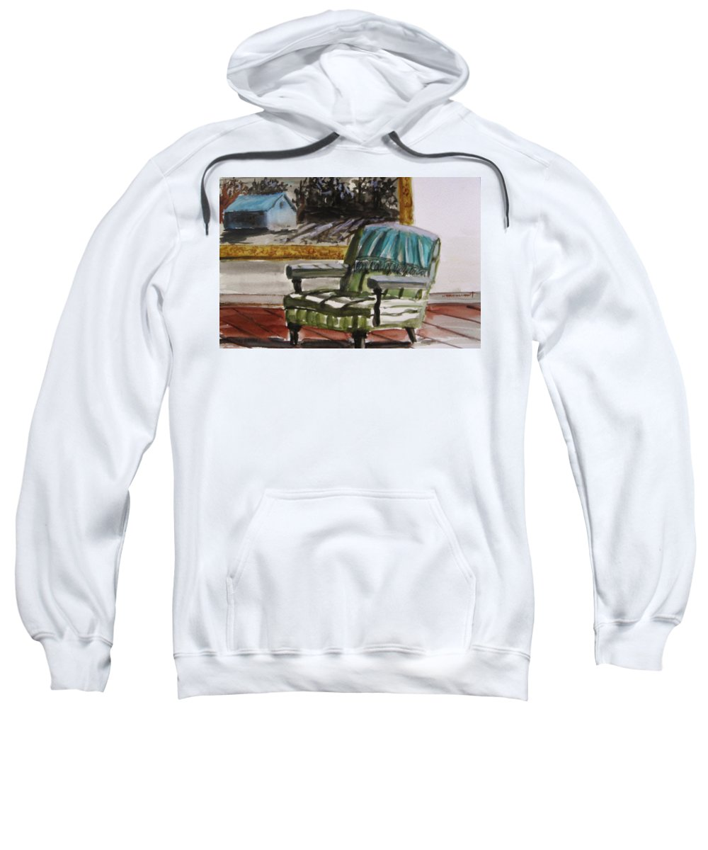 Watercolot Sweatshirt featuring the painting Living Room Moonrise by John Williams