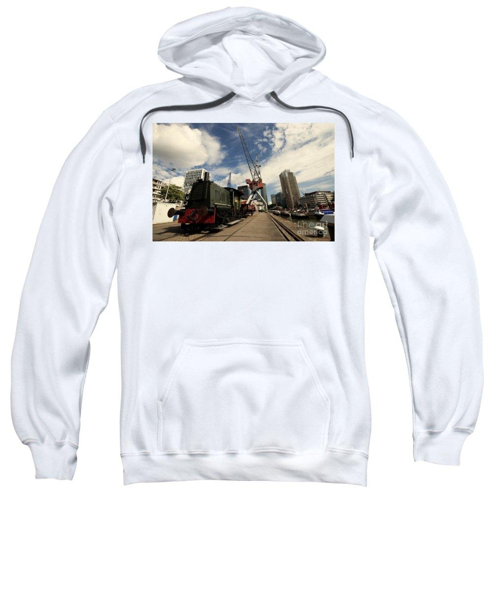 Rotterdam Sweatshirt featuring the photograph Loco On The Docks by Rob Hawkins