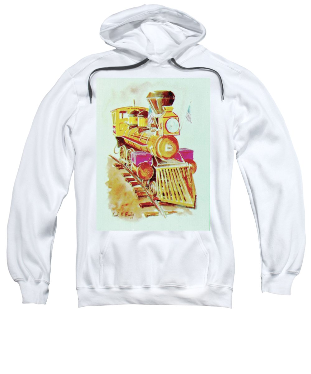 Yellow Locomotive Old General Cowcatcher Sweatshirt featuring the painting Locomotive by Frank Hunter