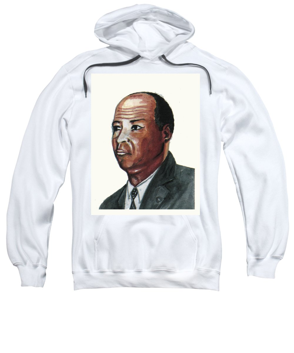 Portraits Sweatshirt featuring the painting Louis Tmpkins Wright by Emmanuel Baliyanga