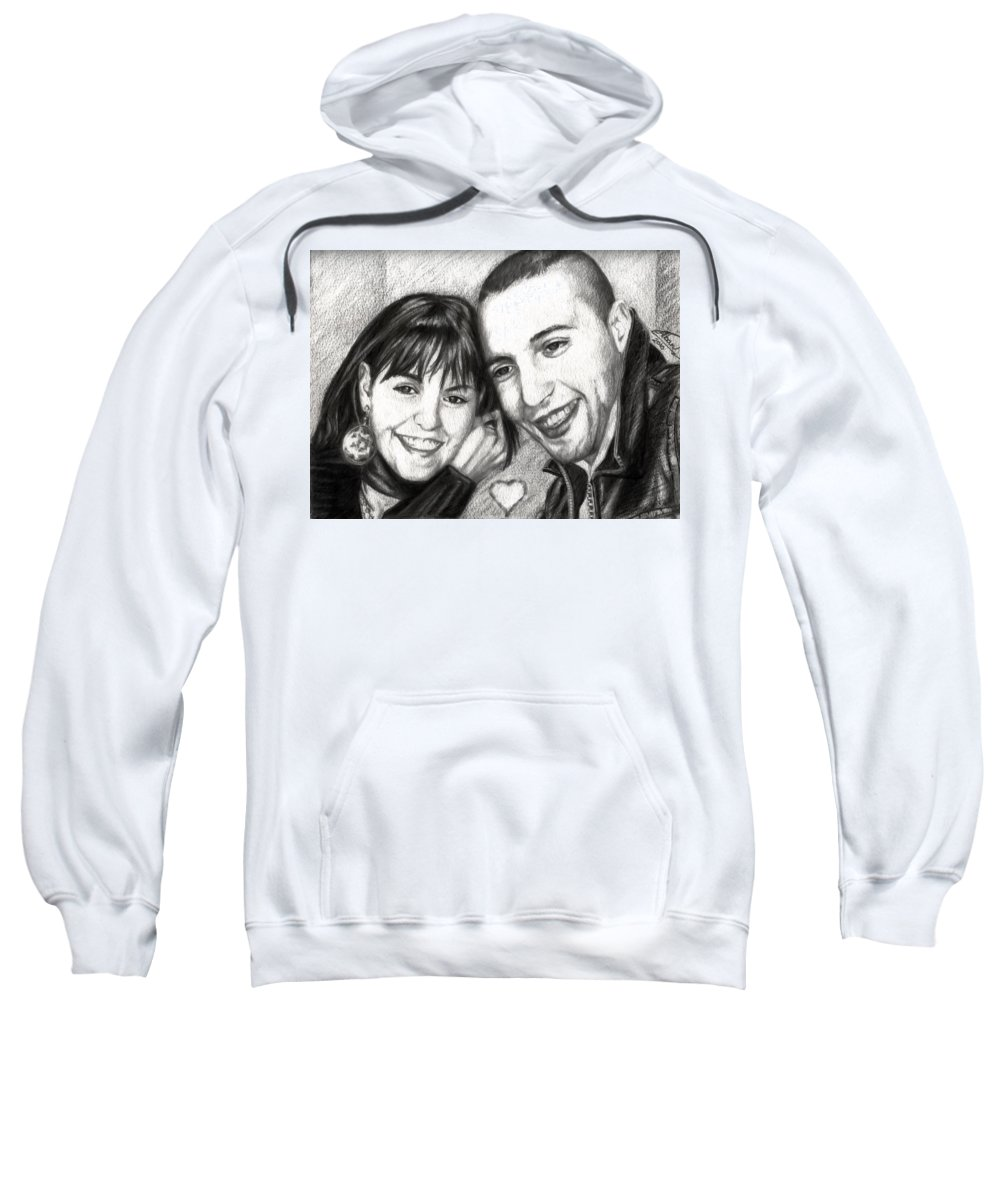 Portraits Sweatshirt featuring the drawing Lovers by Alban Dizdari