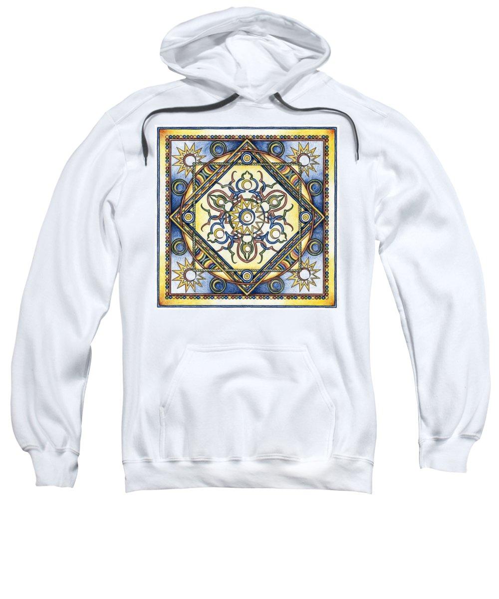 Mandala Sweatshirt featuring the drawing Mandala Of The Sun by Hakon Soreide