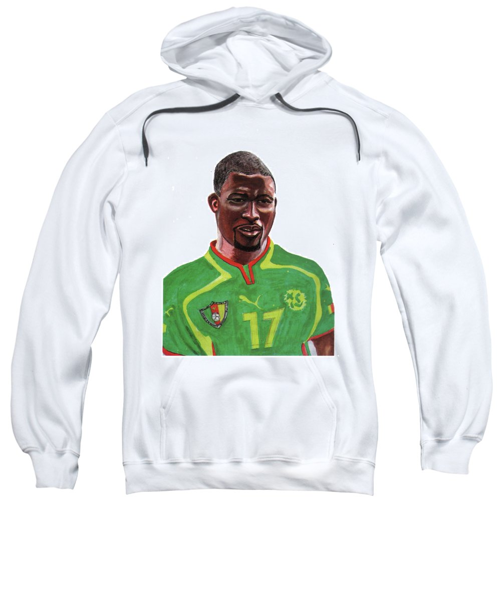 Sports Sweatshirt featuring the painting Marc Vivien Foe by Emmanuel Baliyanga