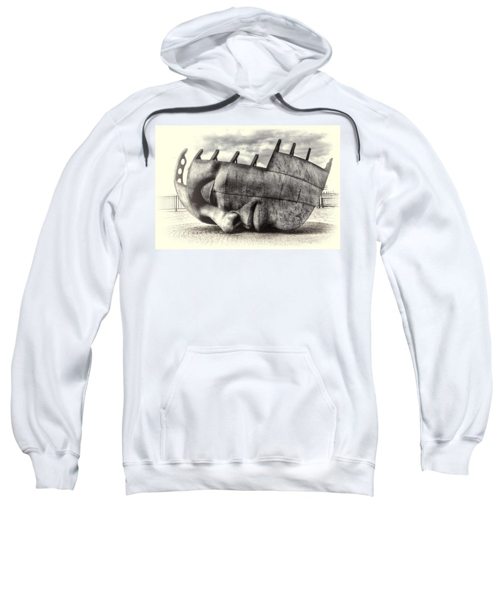Maritime Memorial Sweatshirt featuring the photograph Maritime Memorial Cardiff Bay Opal by Steve Purnell