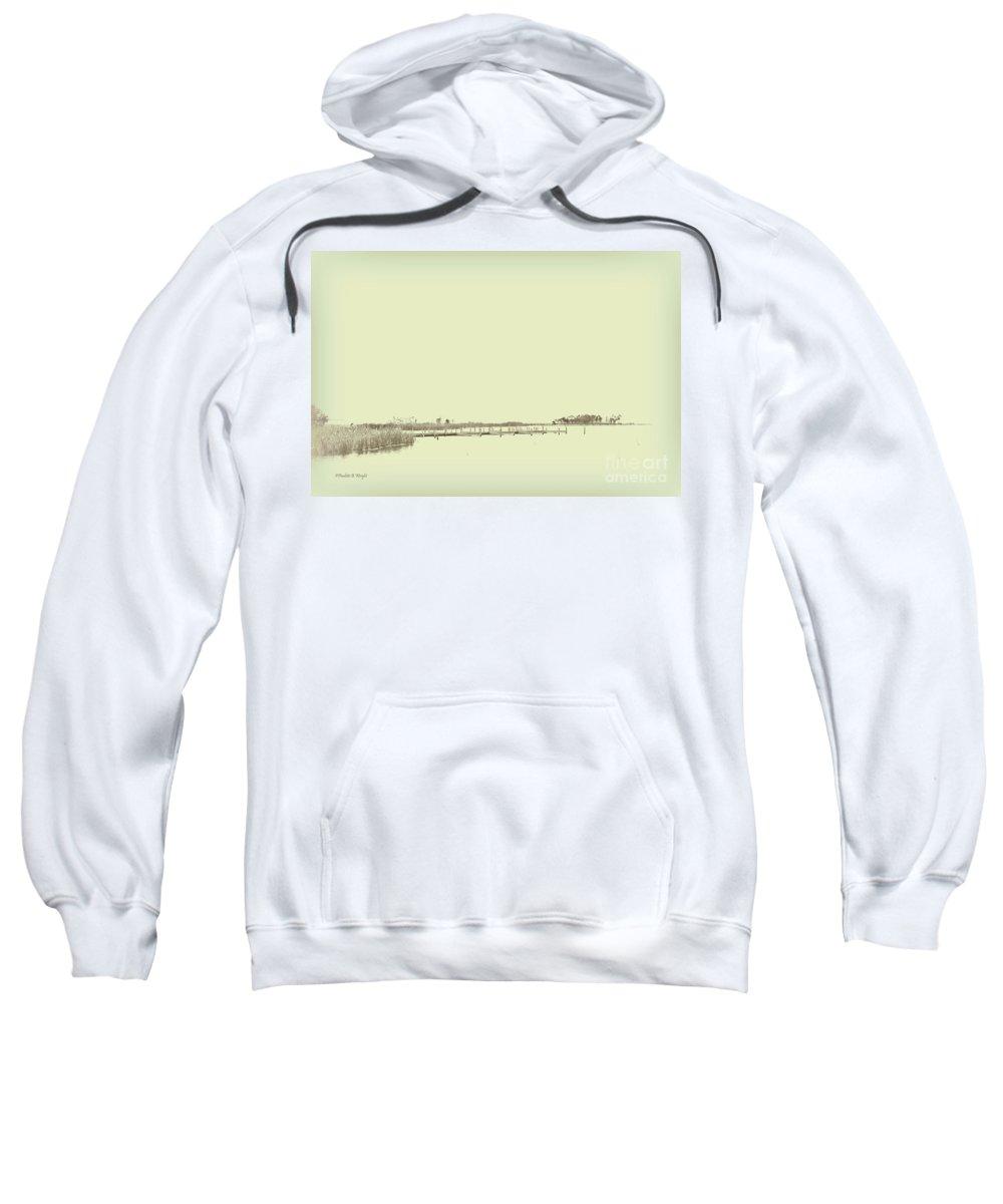 Currituck Bay Sweatshirt featuring the photograph Marsh Rev5 by Paulette B Wright