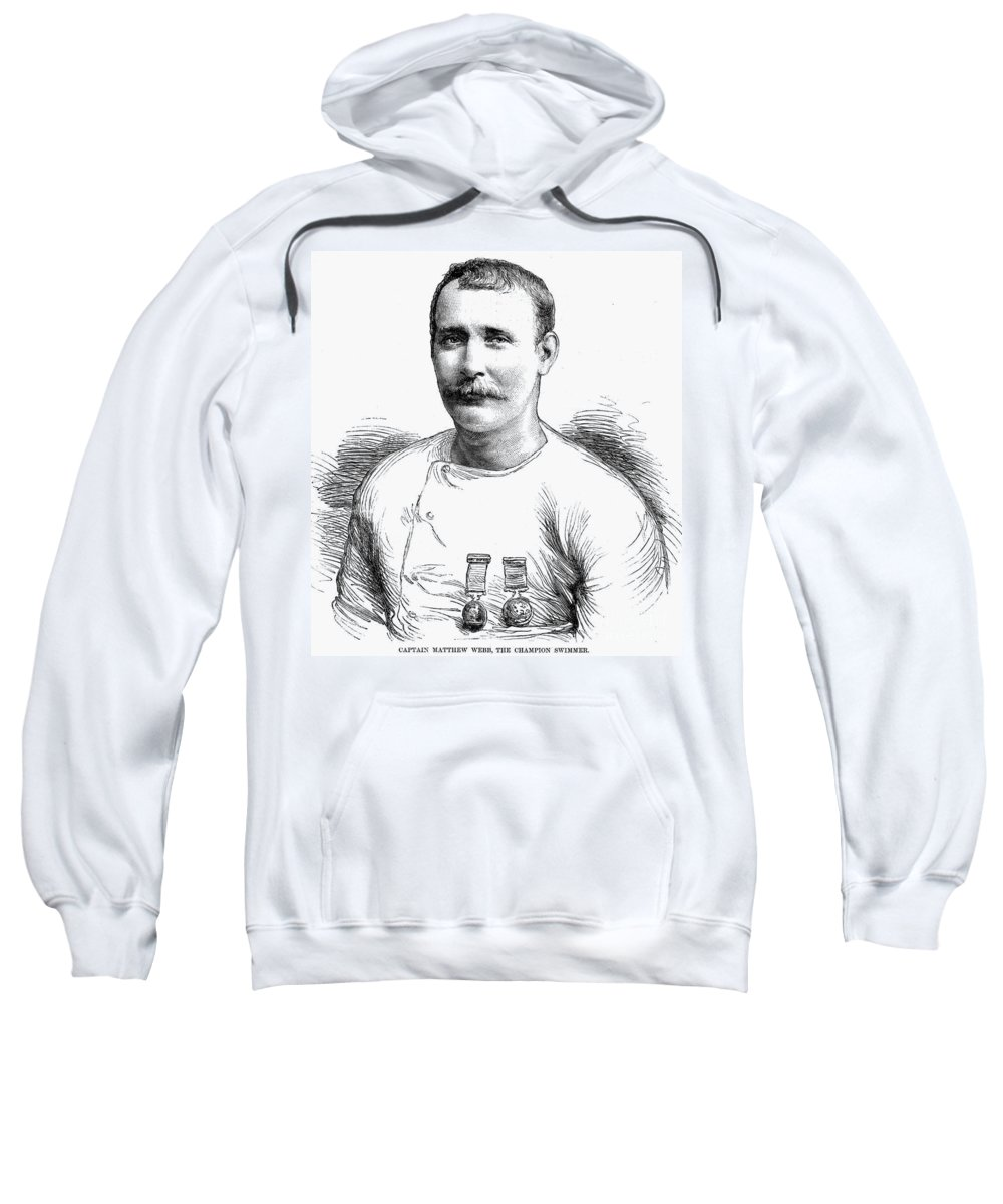 1875 Sweatshirt featuring the photograph Matthew Webb (1848-1883) by Granger