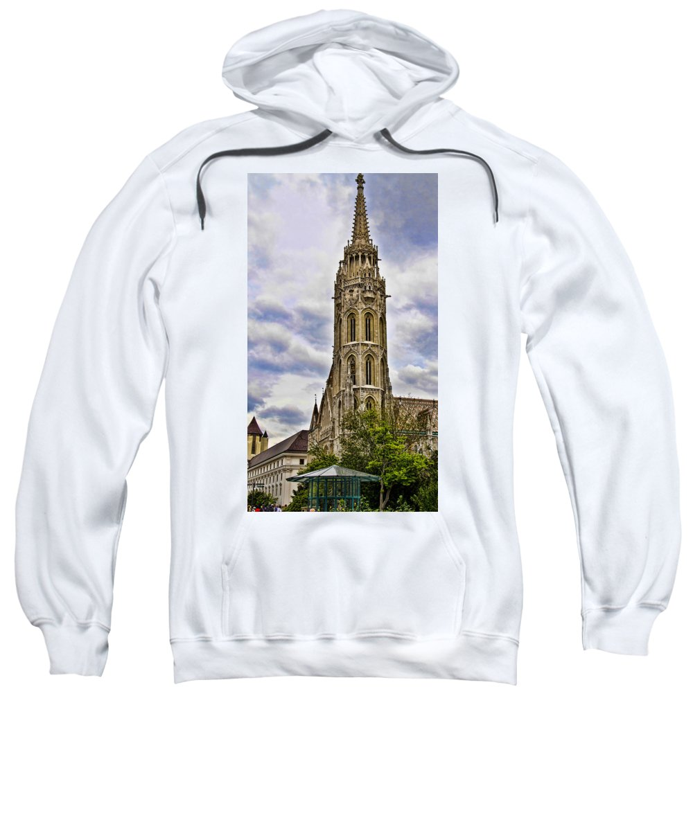Matthias Church Sweatshirt featuring the photograph Matthias Church Tower - Budapest by Jon Berghoff