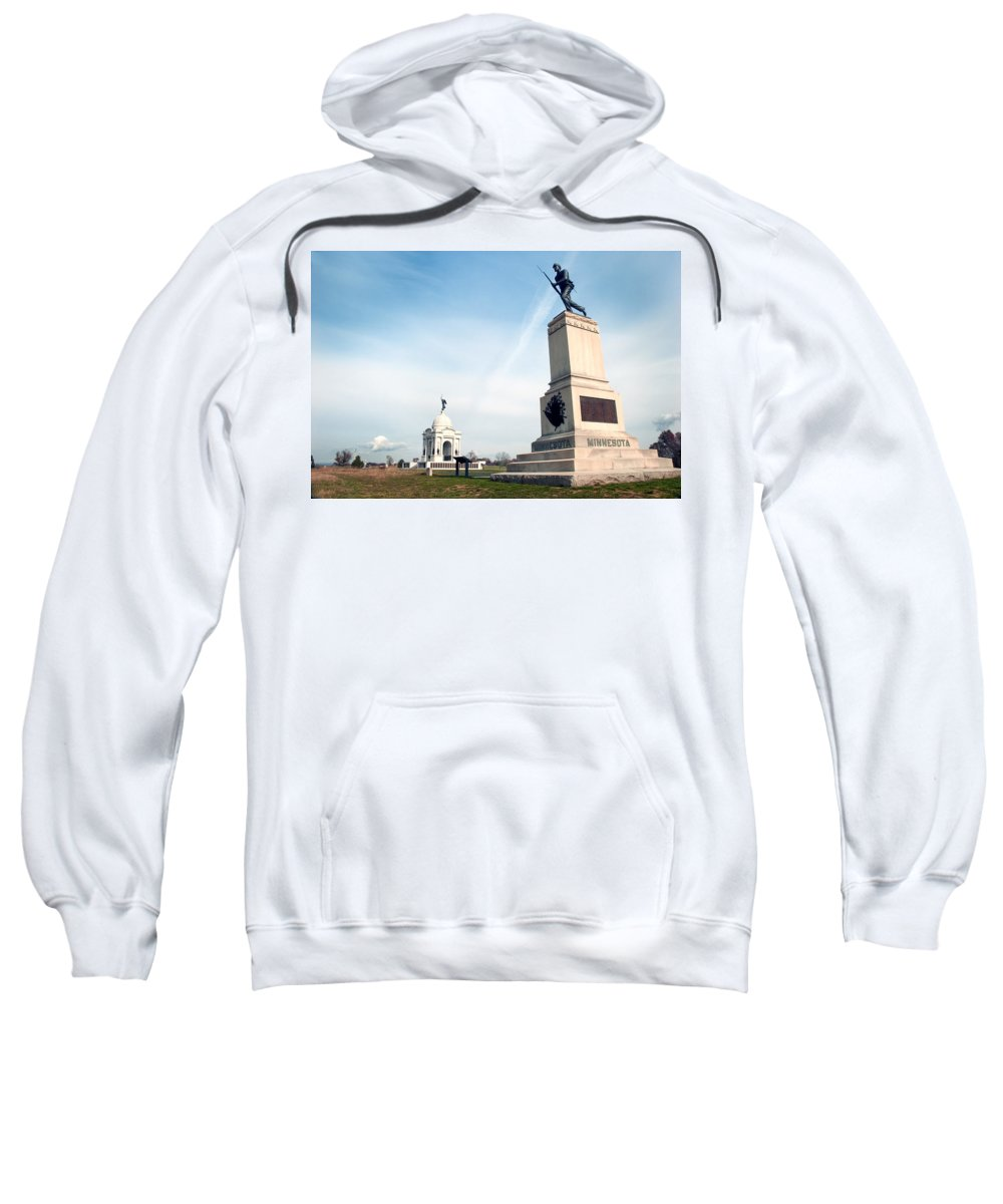 Gettysburg Sweatshirt featuring the photograph Minnesota Monument At Gettysburg by Paul W Faust - Impressions of Light