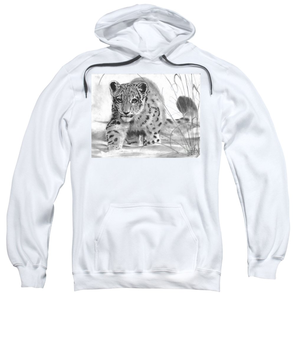 Snow Sweatshirt featuring the drawing Mischief by Christian Conner