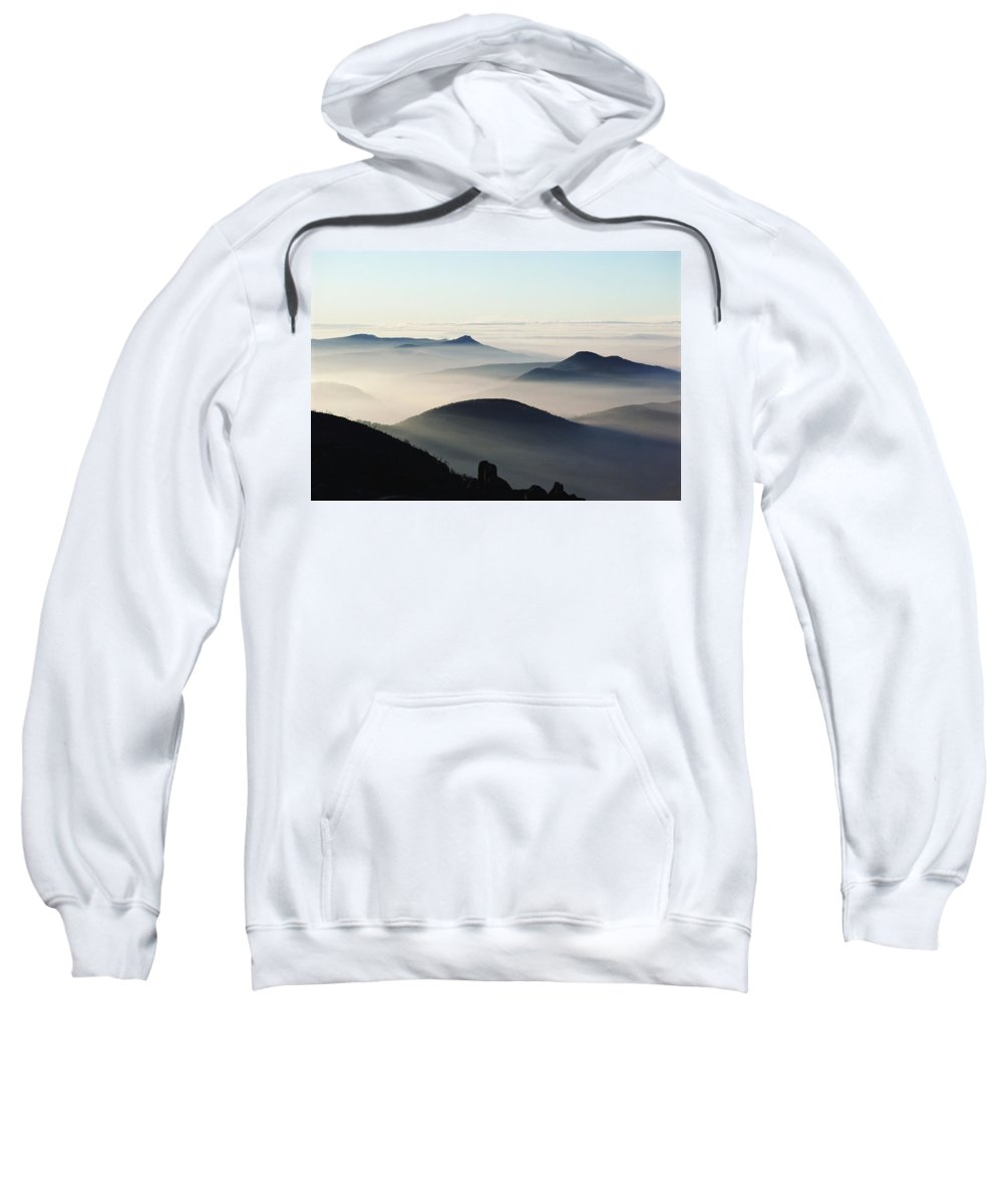 Sunset Sweatshirt featuring the photograph Mist And Mountains by Axiom Photographic