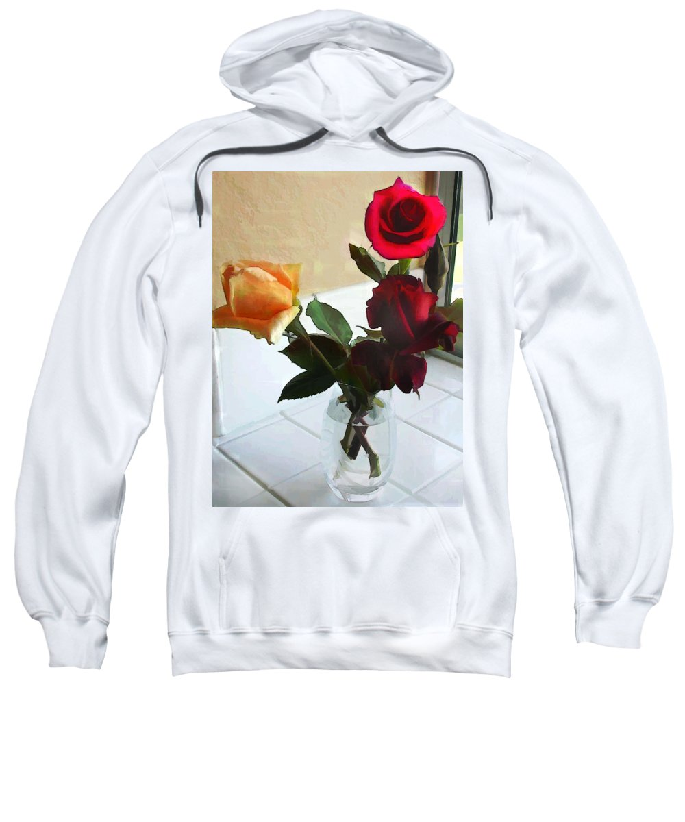 Flower Flowers Garden Roses Vase Window Flora Floral Nature Natural Rose Crystal+vase Tiles Red+rose Yellow+rose Sweatshirt featuring the painting Mixed Roses In Crystal Vase by Elaine Plesser