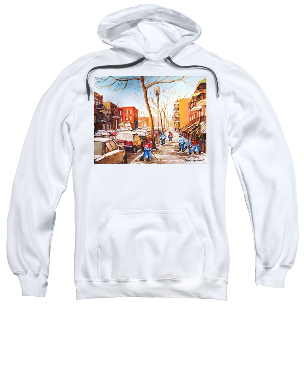 Montreal Street Scene With Boys Playing Hockey Sweatshirt featuring the painting Montreal Street With Six Boys Playing Hockey by Carole Spandau