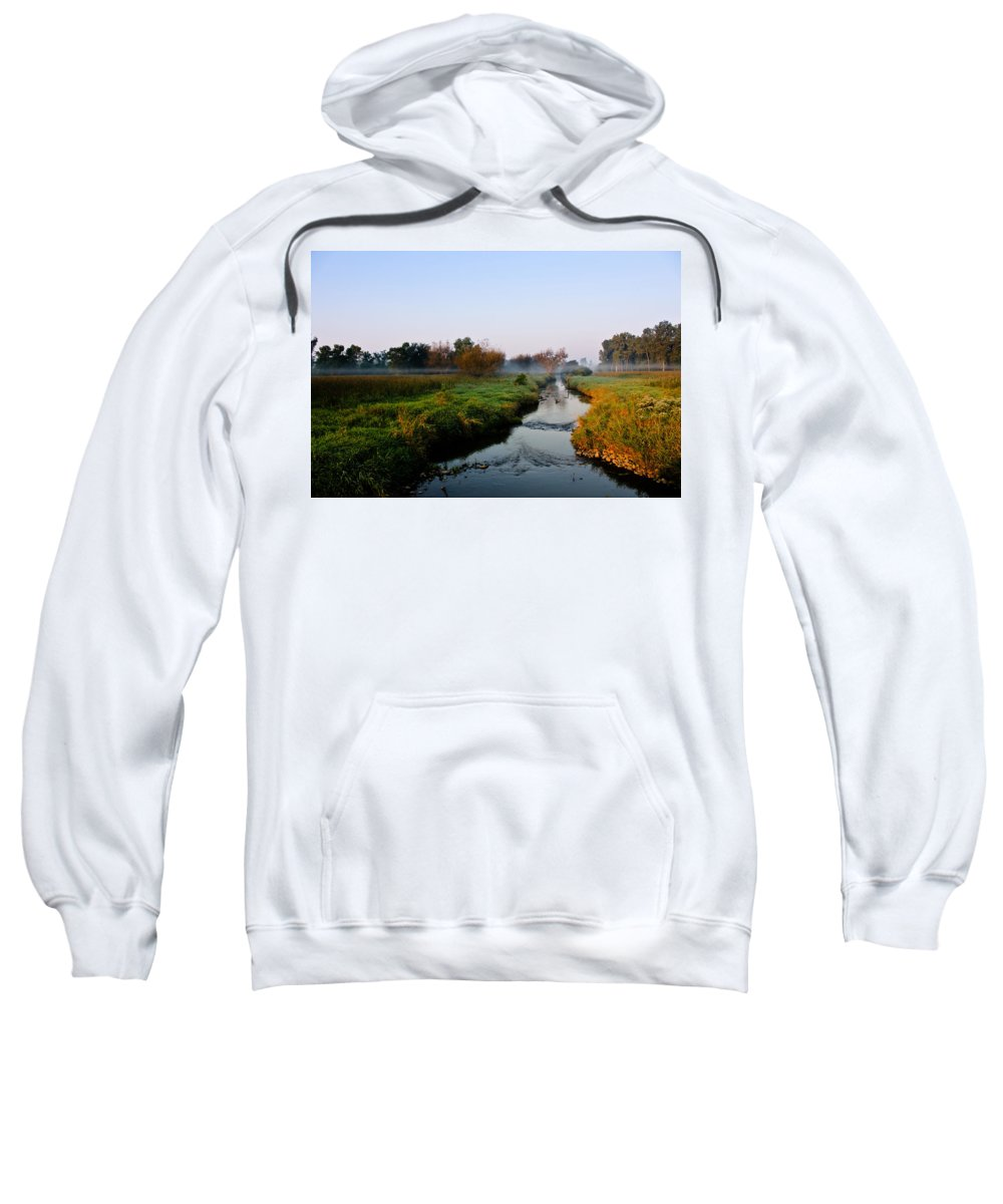 Stream Sweatshirt featuring the photograph Morning Mist by Lauri Novak