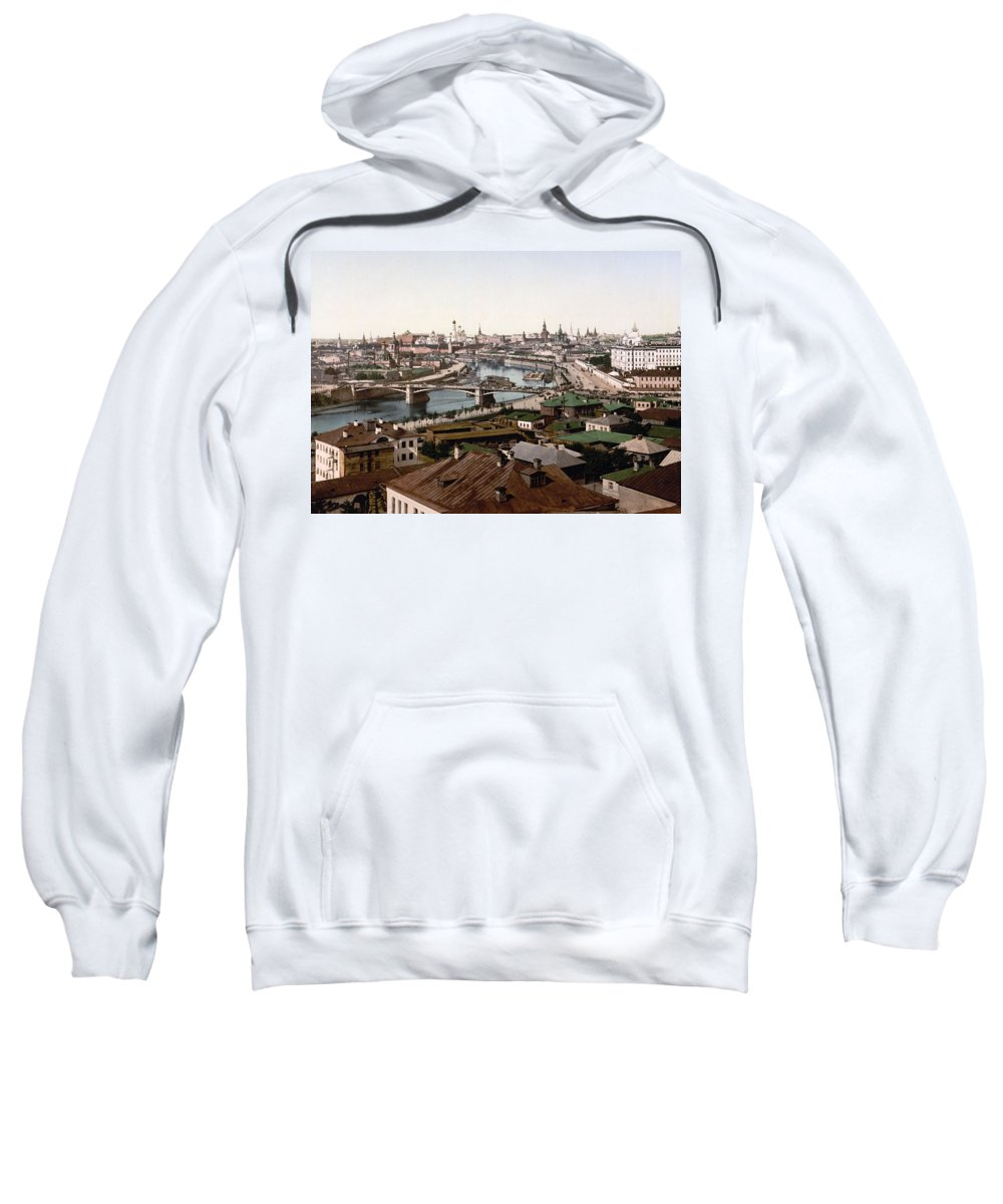 Moscow Sweatshirt featuring the photograph Moscow Russia On The Moskva River - Ca 1900 by International Images