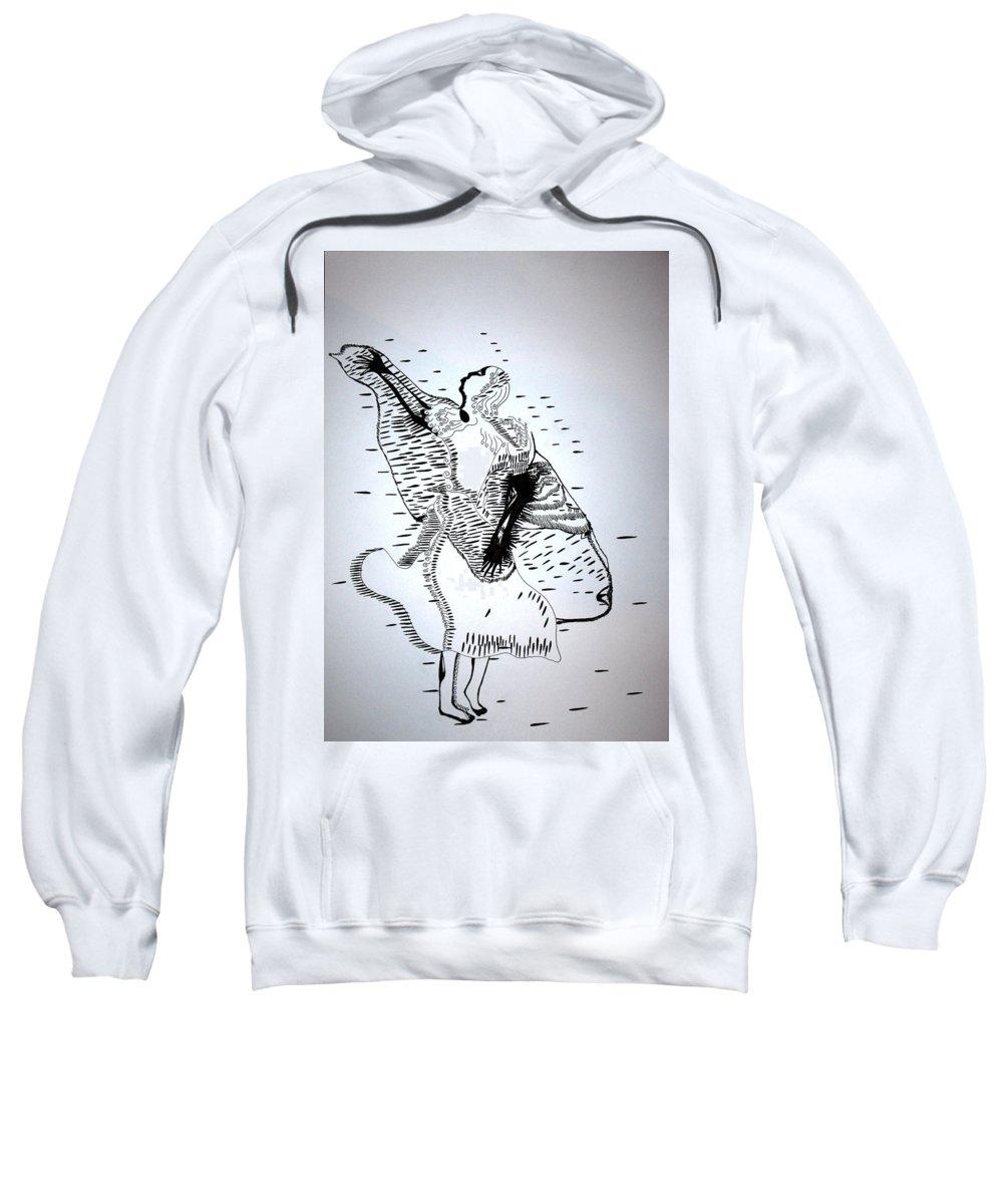 Jesus Sweatshirt featuring the drawing Moutia Dance - Seychelles by Gloria Ssali