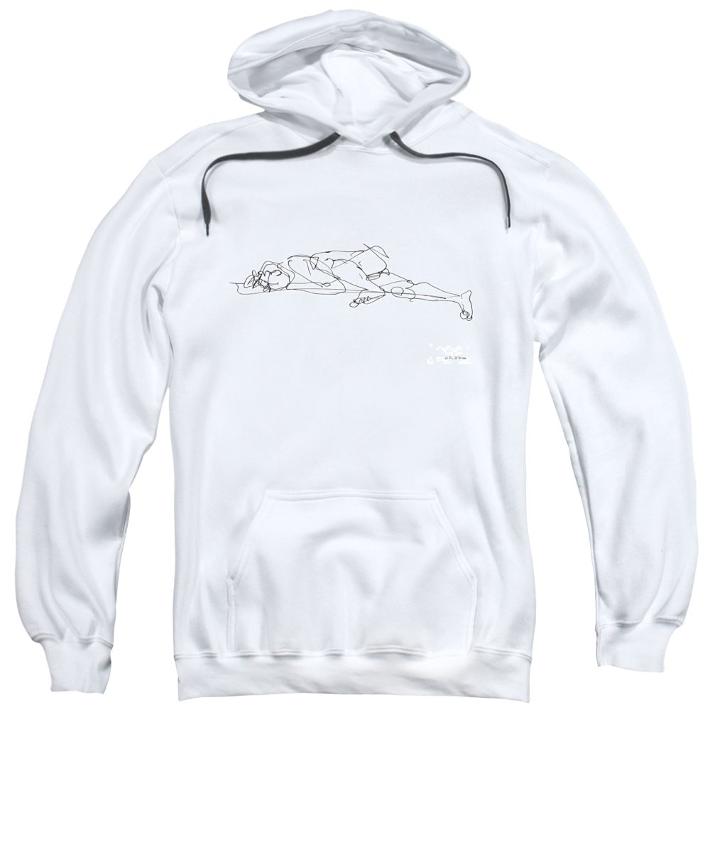 Male Sweatshirt featuring the drawing Naked-man-art-17 by Gordon Punt