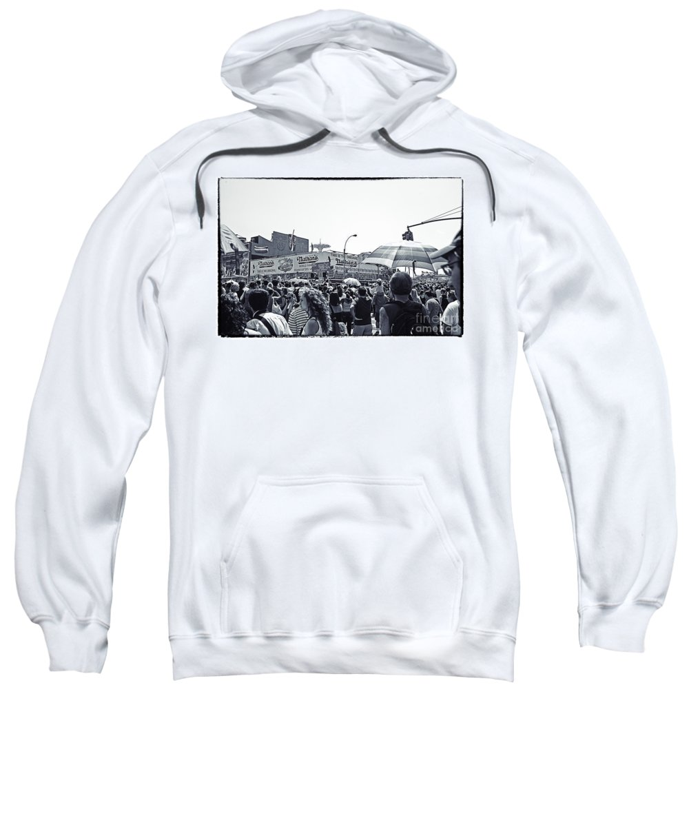 Nathans Sweatshirt featuring the photograph Nathan's Crowd In Coney Island 1 by Madeline Ellis