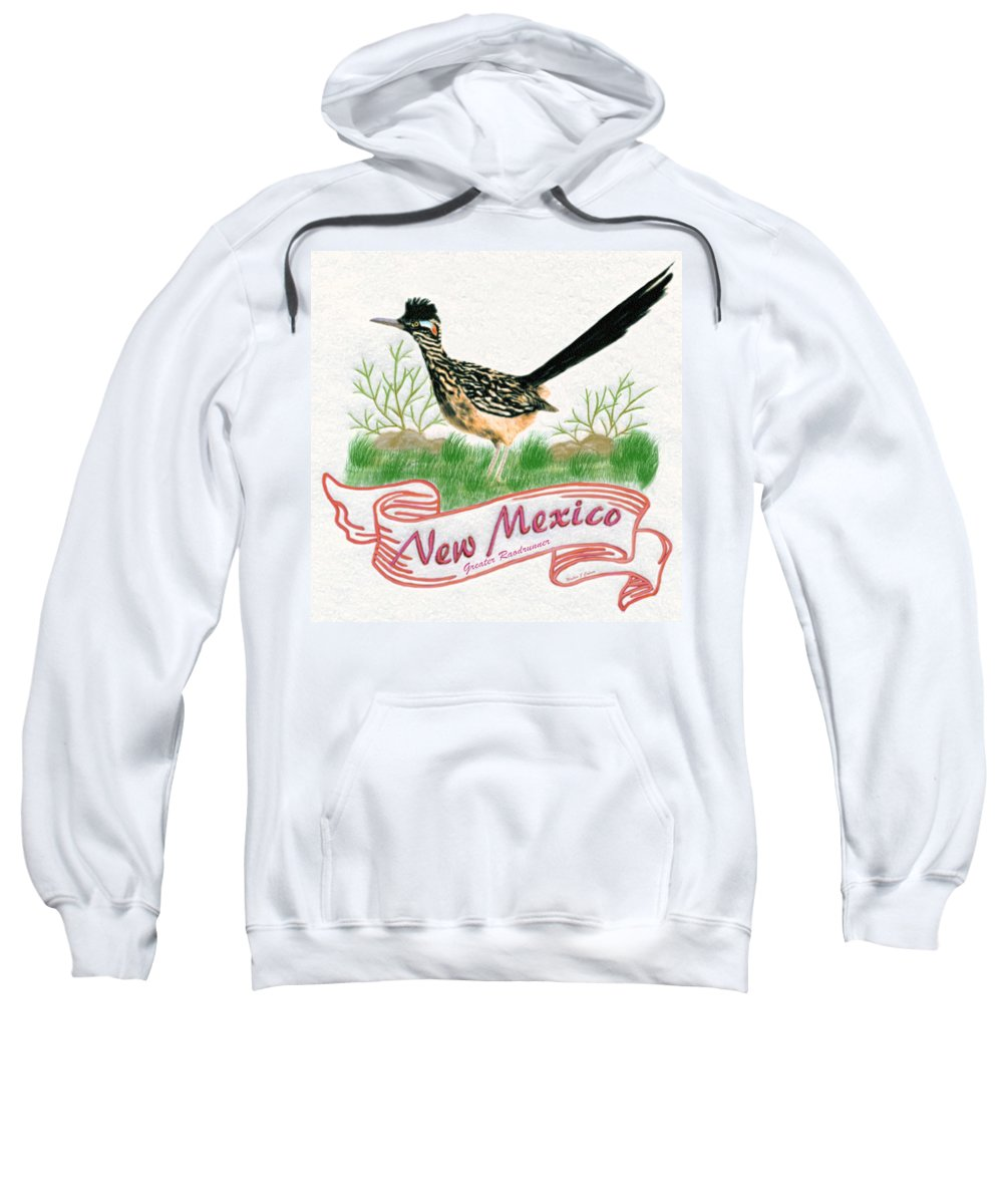 New Mexice State Bird The Greater Roadrunner Sweatshirt featuring the digital art New Mexico State Bird The Greater Roadrunner by Walter Colvin