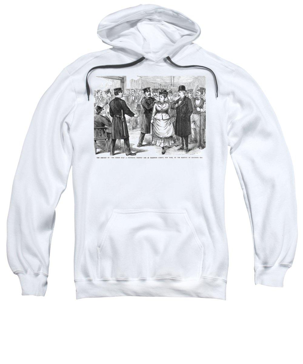 1875 Sweatshirt featuring the photograph New York Police Raid, 1875 by Granger