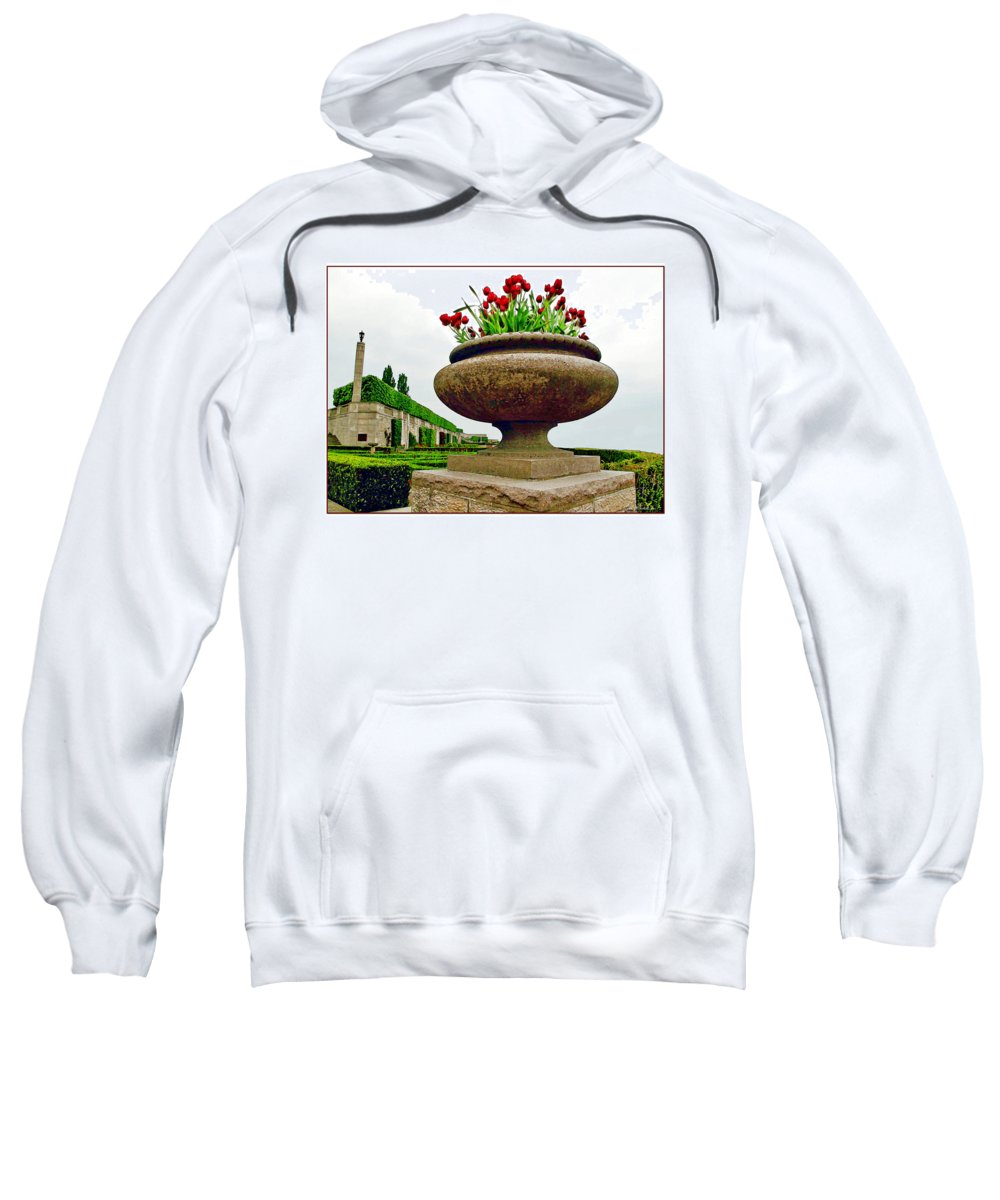 Niagara Falls Sweatshirt featuring the photograph Niagara Falls Floral Urn by Joan Minchak