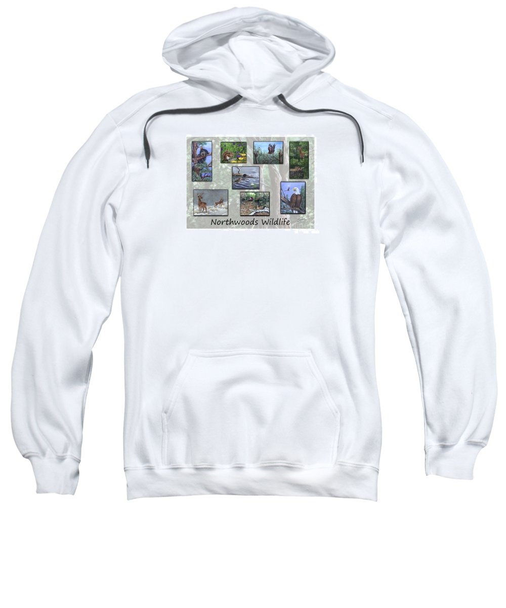 Wildlife Sweatshirt featuring the painting Northwoods Wildlife by Sharon Molinaro