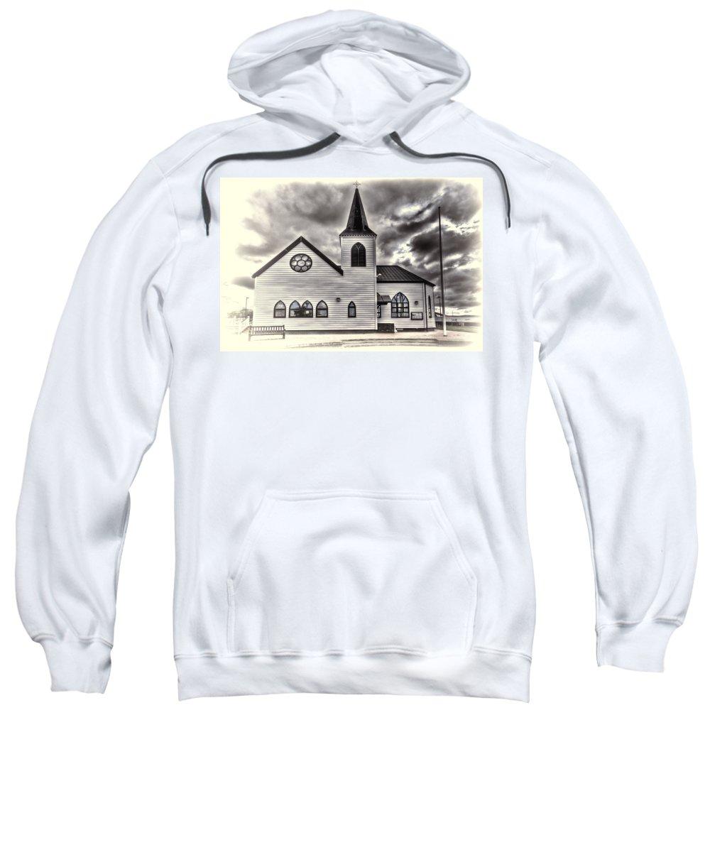 Norwegian Church Cardiff Sweatshirt featuring the photograph Norwegian Church Cardiff Bay Cream by Steve Purnell